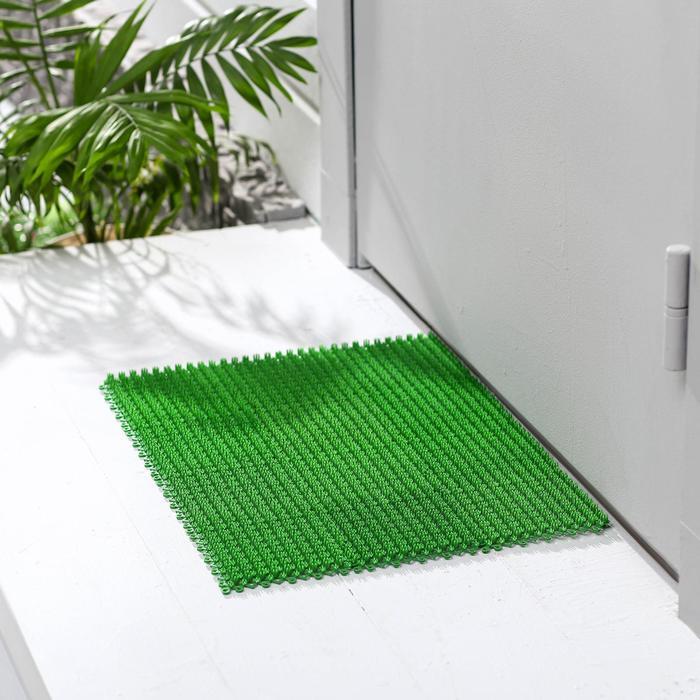 Покрытие ковровое щетинистое «Травка-эконом», 36×48 см, цвет зелёный