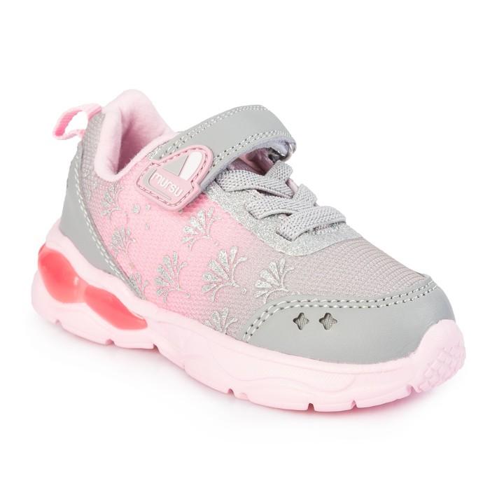 Кроссовки для девочки, арт. 208202, цвет серый/ розовый, размер 26