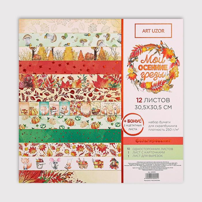 Набор бумаги для скрапбукинга с фольгированием «Мои осенние грёзы», 12 листов, 30.5 × 30.5 см
