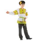 """Русский костюм для мальчика """"Сказочные цветы"""", рубашка, штаны, фуражка, р. 36, рост 134-140 см, цвет зелёный"""