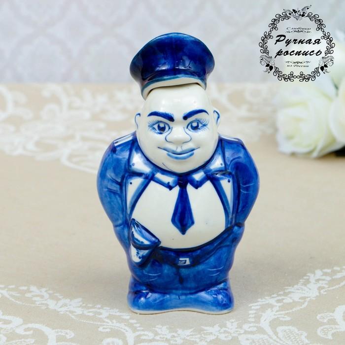 """Штоф """"Полицейский"""", гжель, фарфор, 16 × 10 см"""