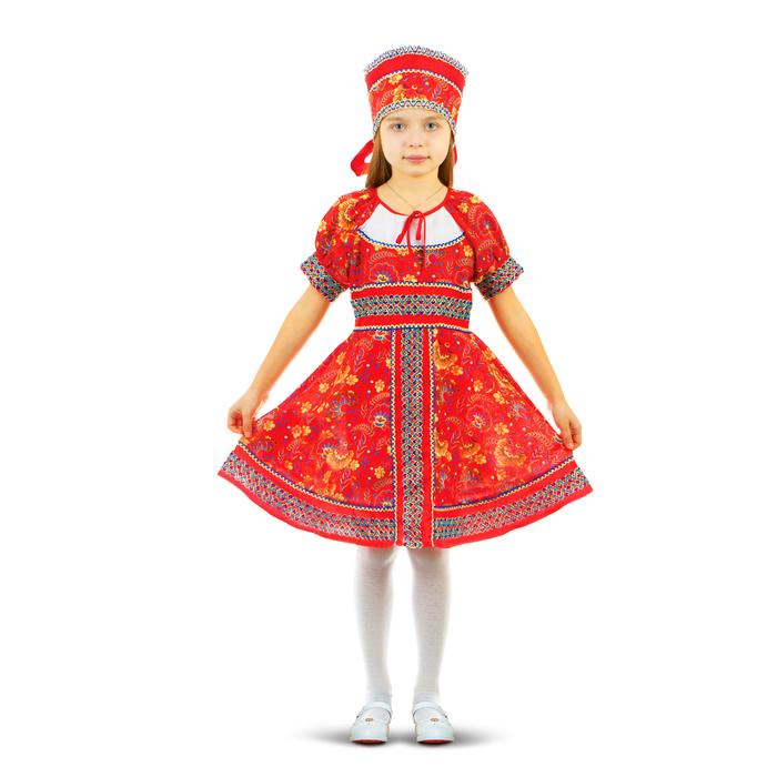 """Русский народный костюм """"Сказочные цветы"""", платье, головной убор, р-р 34, рост 122-128 см, цвет красный"""