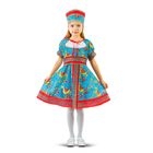 """Русский народный костюм """"Сказочные цветы"""", платье, головной убор, р-р 30, рост 110-116 см, цвет голубой"""