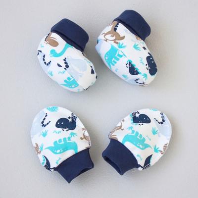 Комплект «Анти-царапки» (варежки, пинетки), 0-3 месяца, цвет белый/синий
