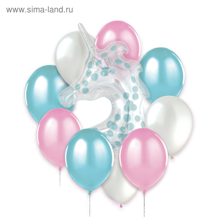 A bouquet of balloons with a polymer unicorn No. 2