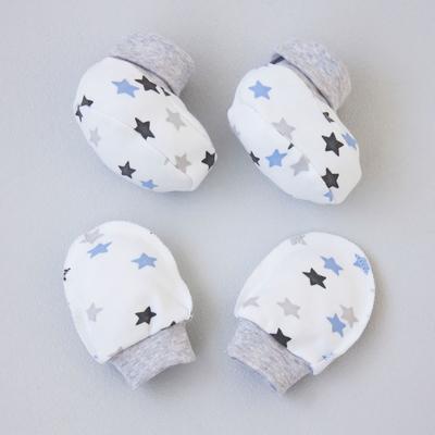 Комплект «Анти-царапки» (варежки, пинетки), 0-3 месяца, цвет белый