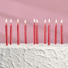 """Свечи в торт """"Спираль"""", 6 см, рубиновые, набор 10 шт"""