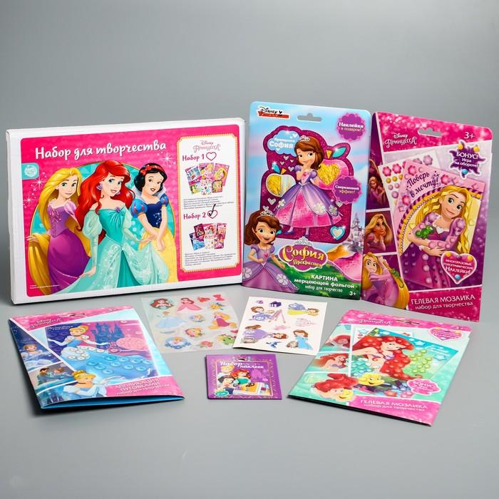 Набор аппликаций, 6 предметов: фрески песком и фольгой, наклейки, аппликации бисером и пластилином, Принцессы Disney