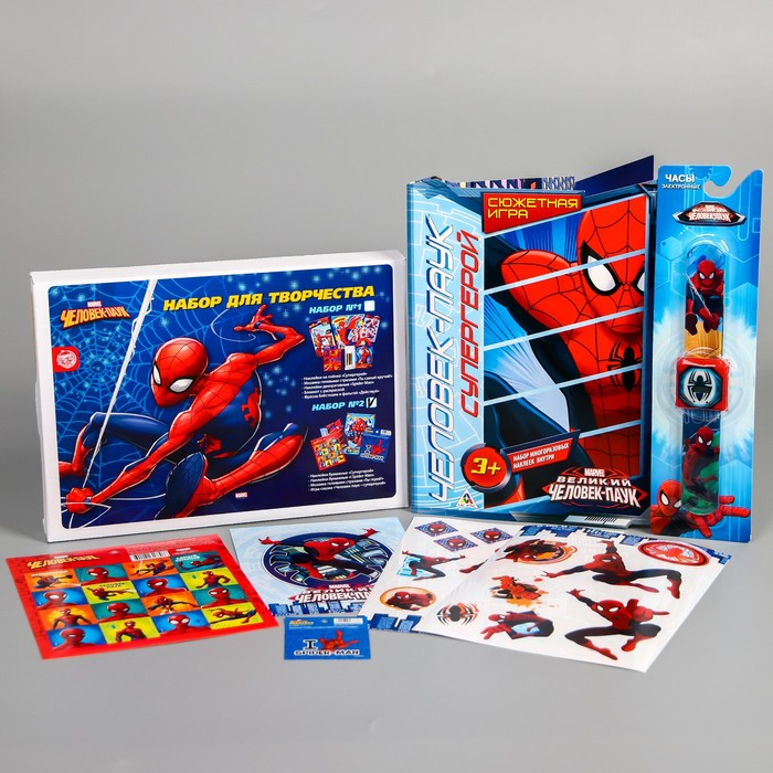 "Набор аппликаций, 4 предмета: набор для творчества с наклейками, гелевая мозаика, набор наклеек, ""Человек-Паук"""