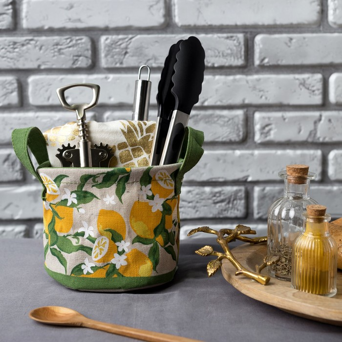"Текстильная корзинка ""Лимоны"" 14х12см - фото 132883350"