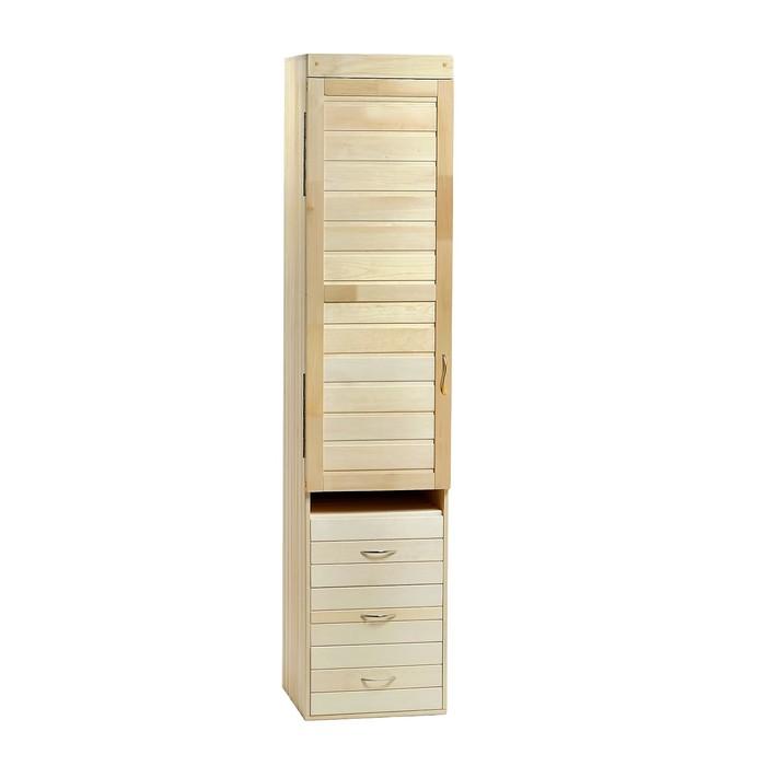 Шкаф из липы с 3мя ящиками, 50×44×200 см