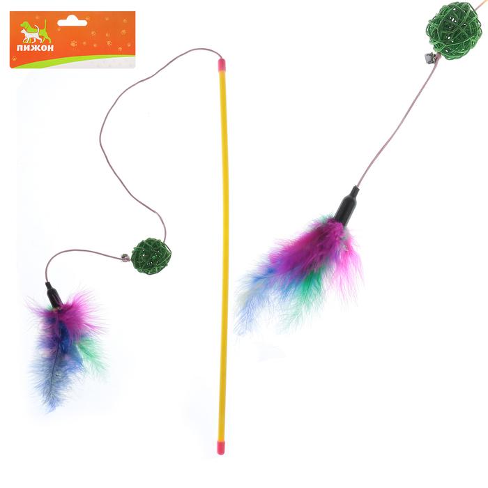 Дразнилка с плетеным шариком и густыми перьями, 49,5 см, микс цветов