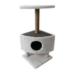 Домик для животных на столбиках-ножках, 38,5 х 38,5 х 86 см, джут, светло-серый