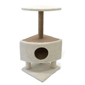 Домик для животных на столбиках-ножках, 38,5 х 38,5 х 86 см, джут, бежевый