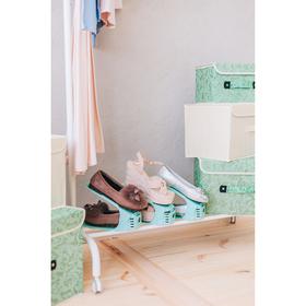 Подставка для хранения обуви регулируемая, 26×10×6 см цвет мятный - фото 4643534