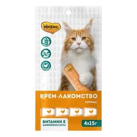Крем-лакомство Мнямс для кошек, с курицей, 15 г х 4 шт