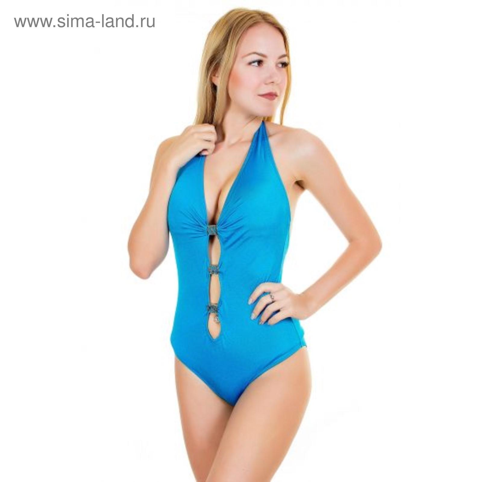 0162aa8424353 Купальник женский слитный 12986 цвет голубой, р-р 46-48 (L), чашка ...