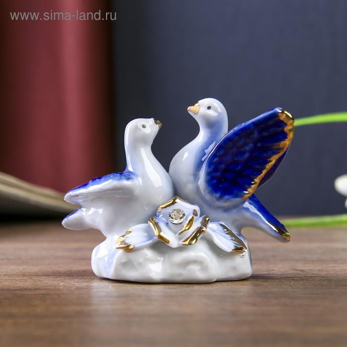 """Сувенир """"Два голубка. Синь"""" со стразами"""
