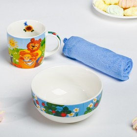Набор посуды «Солнышко»: кружка 250 мл, тарелка глубокая 430 мл, полотенце 30 × 30 см