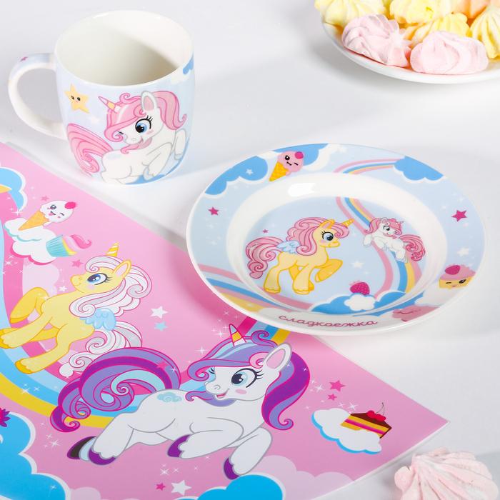 """Набор детской посуды """"Сладкоежка"""", кружка 250 мл, тарелка 17,5 см, салфетка 22 х 35 см"""