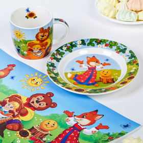 Набор детской посуды «Солнышко»: кружка 250 мл, тарелка Ø 17.5 см, салфетка 35 × 22 см