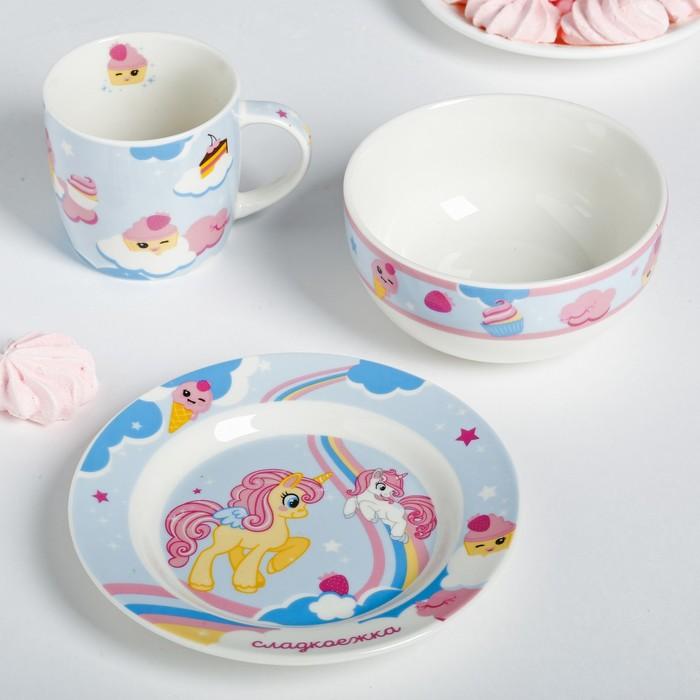 Набор посуды «Сладкоежка»: кружка 250 мл, глубокая тарелка 430 мл, тарелка Ø 15 см