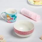 Набор посуды «Принцесса»: кружка 250 мл, тарелка глубокая 430 мл, полотенце 30 × 30 см - фото 197167