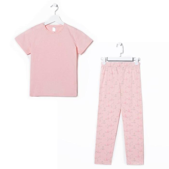Пижама для девочки А.11172-1, цвет розовый, принт птички , рост 128