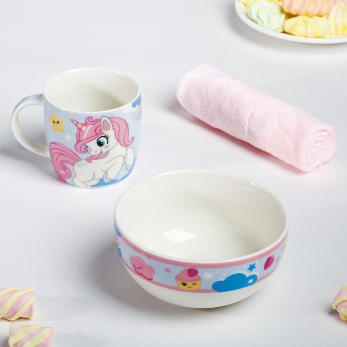 Набор посуды «Сладкоежка»: кружка 250 мл, тарелка глубокая 430 мл, полотенце 30 × 30 см