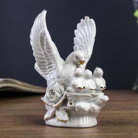 "Souvenir ""White dove with birds"" with rhinestones"