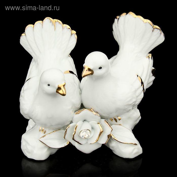 """Сувенир """"Голубки на цветущей ветке"""" белый со стразами"""