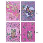 Записная книжка подарочная, формат А5, 56 листов, в линейку, на замке, «Совы/Бабочки», МИКС