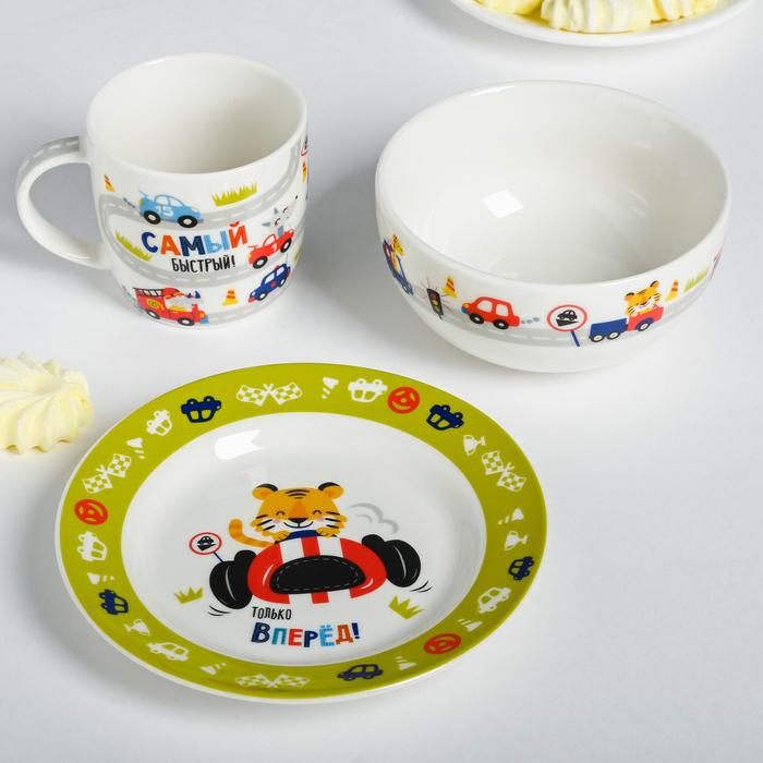 Набор посуды «Гонщик»: кружка 250 мл, глубокая тарелка 430 мл, тарелка Ø 15 см