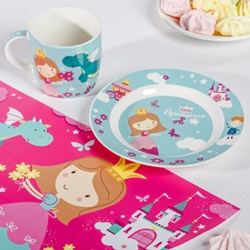 Набор детской посуды «Принцесса»: кружка 250 мл, тарелка Ø 17.5 см, салфетка 35 × 22 см