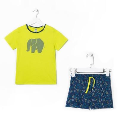 Пижама для мальчика (футболка,шорты), цвет зелёный, рост 140