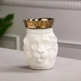 """Копилка """"Лев с короной"""", белая, керамика, 16 см"""