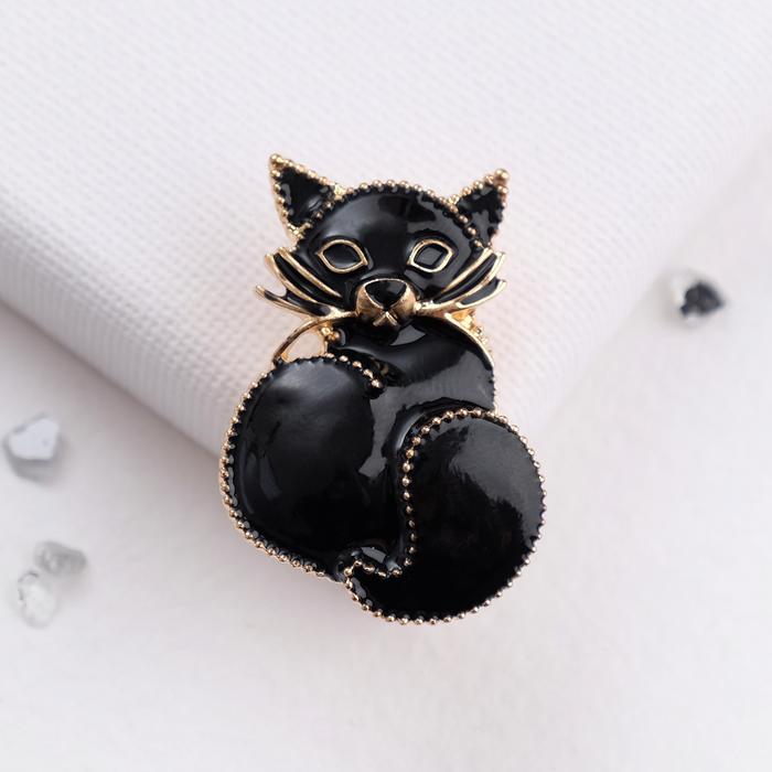 """Брошь """"Кошечка"""" домашняя, цвет черный в золоте - фото 306782343"""