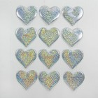 Сердечки декоративные, набор 12 шт., размер 1 шт: 6,5×6 см, цвет серебристый