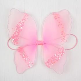 Миниатюра кукольная - крылья на резинке «Блеск», цвет розовый