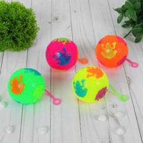 Мяч световой 'Лягушка' на резинке 7,5 см, цвета МИКС Ош