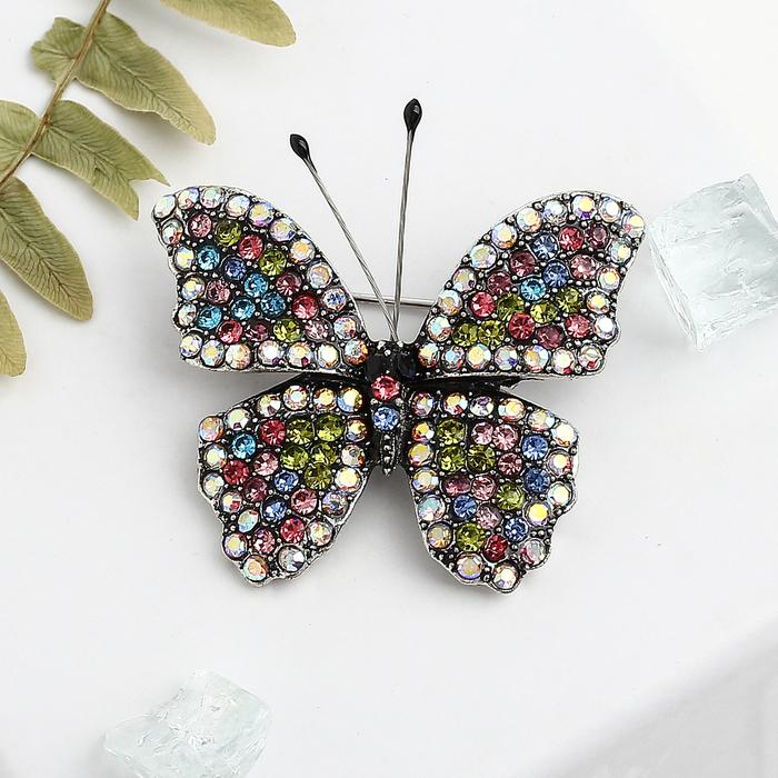 """Брошь """"Бабочка"""" с усиками, цветная в черненом серебре - фото 234153319"""