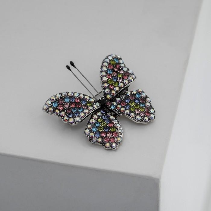 """Брошь """"Бабочка"""" с усиками, цветная в черненом серебре - фото 234153322"""