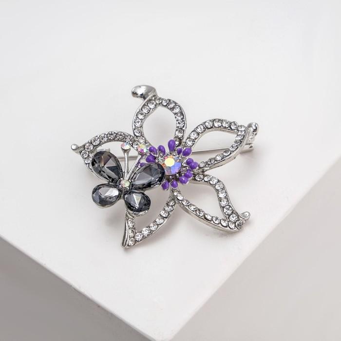 """Брошь """"Цветок"""" с бабочкой, цветная в серебре - фото 436985521"""