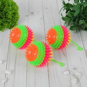 Мяч световой 'Ёжик' на резинке 7,5 см, цвета МИКС Ош