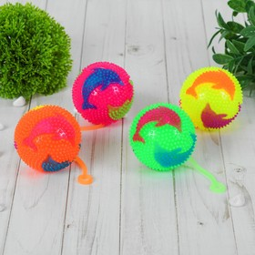 Мяч световой 'Дельфин' на резинке 7,5 см, цвета МИКС Ош