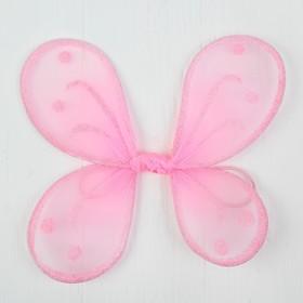 Миниатюра кукольная - крылья на резинке «Блёстки», цвет розовый