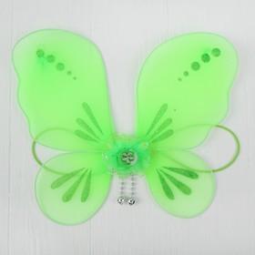 Миниатюра кукольная - крылья на резинке «Цветок», цвет зелёный