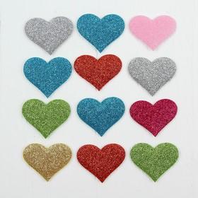 Сердечки декоративные, набор 12 шт., размер 1 шт: 5×4 см, цвета МИКС