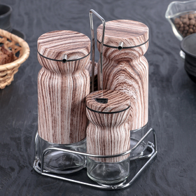 "A set of containers for spices and sauces ""Valentino"", 4 piece, on a stand"