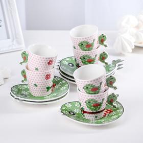 Набор чайный «Птичка», 12 предметов: 6 чашек 90 мл, 6 блюдец 13 см